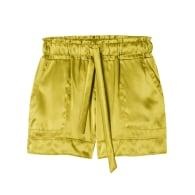 Chartreuse Green Satin Shorts image