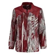Luna Leather & Cotton Bomber Jacket - Red image