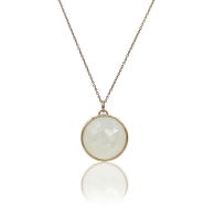 Eclipse: White Onyx Necklace In 18K Rose Gold Vermeil On Sterling Silver image