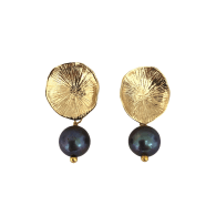 Flower Coral Earrings With Peacock Pearl image