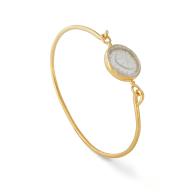 18K Gold Vermeil Openable Bracelet Set With An Engraved Rock Cristal image