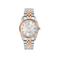 Swiss Made Inspiration Rose Gold Two Tone Silver Dial Watch With Date image