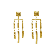Molten Gold Statement Dangle Earrings image