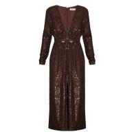 Clara Dark Brown Sequin Deep V Neck Midi Dress image