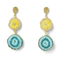 So Solar Buttermilk Sky Blue Gold Statement Earrings image