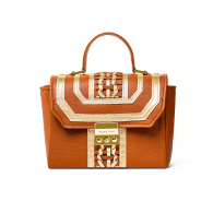 Mini Atenas Tote Brown & Gold with Long Strap image
