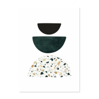 A2 Green and Terrazzo Abstract Shapes Art Print 02 image