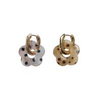 Clear Beige Polka Dot Flower Hoop Earrings image