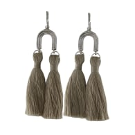 Khonsu Arc Tassel Hoops - Silver - Sand Tassels image