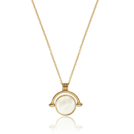 Gold Mother of Pearl Spinning Disc Necklace image