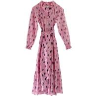 Caroline Block Print Midi Dress In Pink image