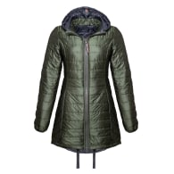 Long Reversible Wool Filled Puffer Jacket In Olive image