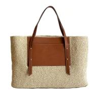 Handwoven Raffia & Leather Tote Bag Tan image