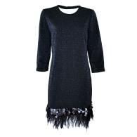 Dark-Blue Sparkles On Black Fabric Knitted Dress image