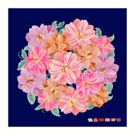 Navy Camellia Bouquet Giclée Print 25x25cm image