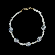 Nixie Quartz with 18K White Gold Plated with Purple Freshwater Pearls Clay Beads Necklace image