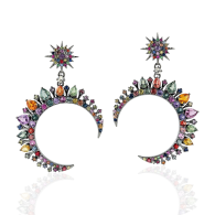 Crescent Moon Dangle Earrings Multi Sapphire 14k White Gold Jewelry image