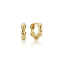 Gold Molten Huggie Hoop Earrings image