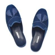 Villa Handmade Velvet Slippers - Blue image