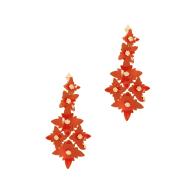 Zinnia Flower Drop Earring - Orange image