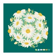 Green Daisy Bouquet Giclée Print 25X25Cm image