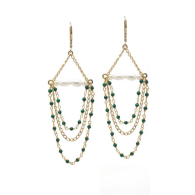 Penelope Malachite & Pearl Chandelier Earrings image