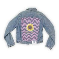 Reworked Denim Jacket With Sunflower & Waves image