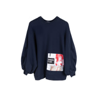 Organic Cotton Oversized Jumper With Patches, Navy image