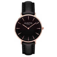 Mykonos Vegan Leather Watch Rose Gold, Black & Black image