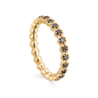 Deco Black Spinel Eternity Ring in Yellow Gold Vermeil image
