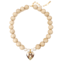 The Katie Cream Wooden Bead and Heart Locket Necklace image
