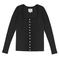 Long Sleeve Button Up Black Shirt - 90s Style image