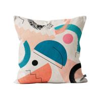 Printed Collage Cushion In Cream, Pink, Teal & Orange image