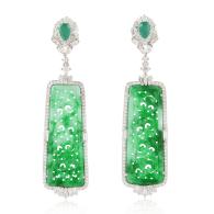 18k White Gold Diamond Dangle Earrings Carving Emerald Handmade Jewelry image