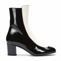 No.16 Oreo Black & White Leather Mid-Heel Boots image