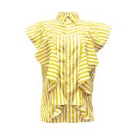 Ruffled Stripe Button-Down Shirt image