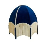 Navy Velvet Dome Shade With Cream Fringe & Blue Tassels image