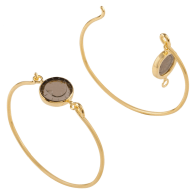 18K Gold Vermeil Openable Bracelet Set With A Heart Engraved Smoked Quartz image