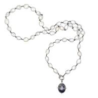 Sodalite Diamond Pendant White Moonstone Necklace image