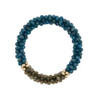Beaded Gemstone Bracelet - Blue Jade & Labradorite & Gold image