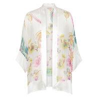 Whisper Silk Long Kimono - Cream Paisley Print image