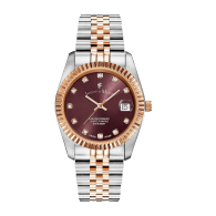 Jacques Du Manoir Swiss Made Inspiration Rose Gold Two Tone Burgundy Dial 36mm Watch with Date image