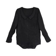 Wide-Cuff Oversized Button Up Linen Blend Shirt In Black image