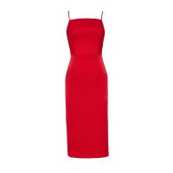 Ora Red Crepe Satin Midi Dress With Adjustable Straps image
