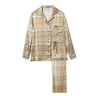 Orange Cream High Tea Printed Silk-Satin Pajama Set image