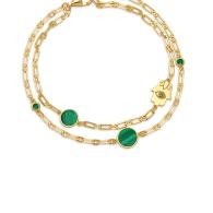 Double Strand Hamsa Bracelet in Malachite image
