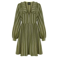Cassey green cotton and viscose dress with a collar and puffy sleeves image