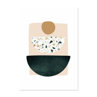A4 Green and Terrazzo Abstract Shapes Art Print 01 image