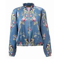Silk Bomber Jacket In Blue Satin - Belle Époque image