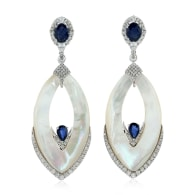 18k White Gold Pave Diamond Mother Of Pearl Blue Sapphire Dangle Earrings Handmade Jewelry image